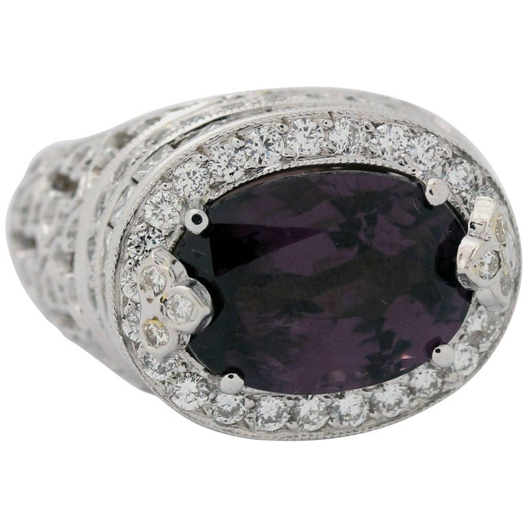 Purple Spinel Princess and Round Cut Diamond White Gold Ring