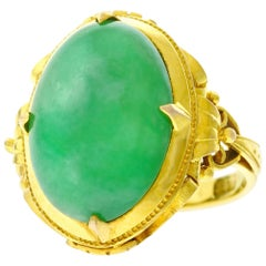 Chinese Export Jade Set Gold Ring, 1920s