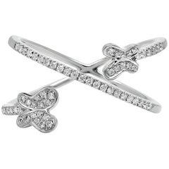 Diamond Crisscross Butterfly Ring in White Gold