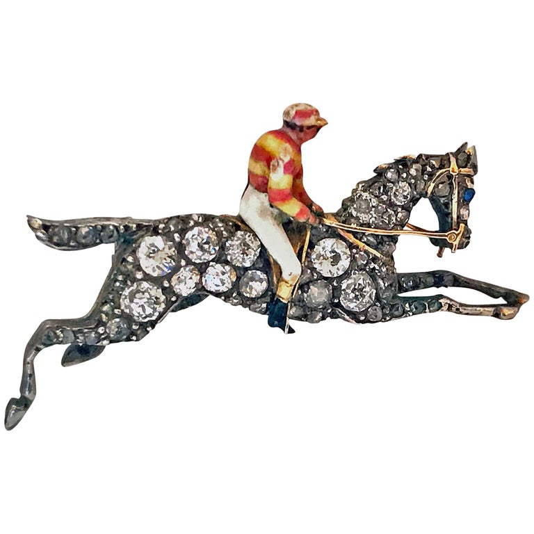 19th Century English Diamond Enamel Racehorse Brooch Pin For Sale