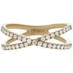 Diamond Criss Cross Ring in Yellow Gold