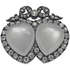 Antique English Double Heart Moonstone Diamond Brooch