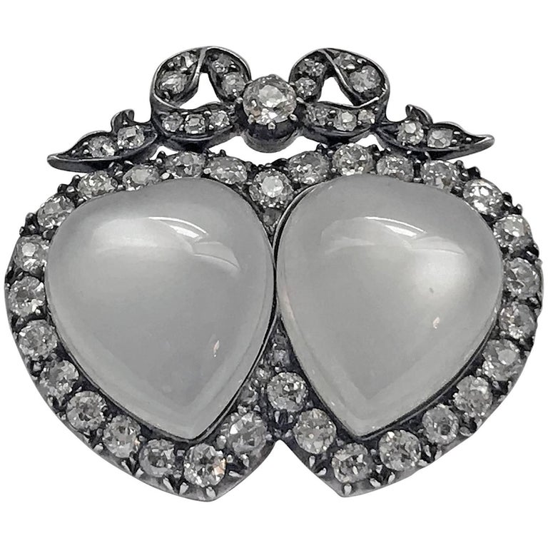 Antique English Double Heart Moonstone Diamond Brooch For Sale