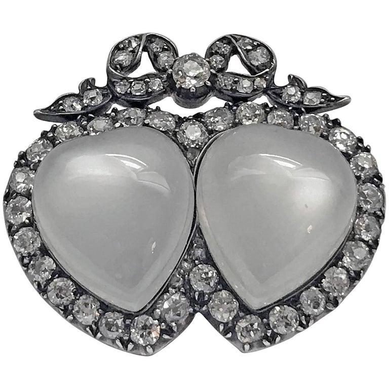 Antique English Double Heart Moonstone Diamond Brooch 1