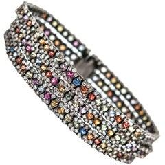 Multi-Color Sapphire and Diamond Bracelet Black Rohdium