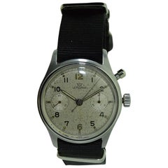 Lemania Stainless Steel Military Single Button Chronograph Manual Watch