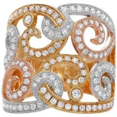 Diamond Swirl Ring in Tri-Color Metal