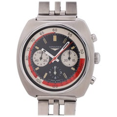 Longines stainless steel Conquest Cushion Shaped Chronograph Manual Wristwatch