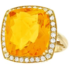 12.0 Carat Citrine and Diamond Set Gold Ring