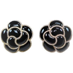 Diamond and Onyx Flower Earrings