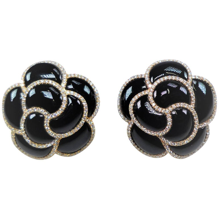 Diamond and Onyx Flower Earrings For Sale