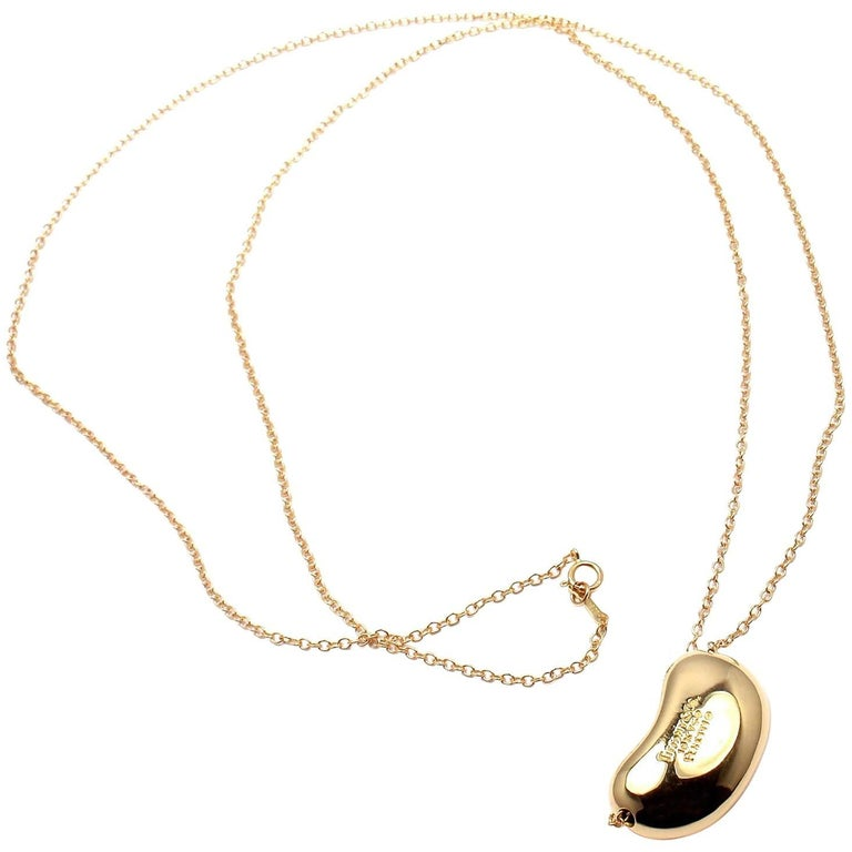 0801a8207 Tiffany & Co. Elsa Peretti Large Bean Yellow Gold Chain Necklace For Sale