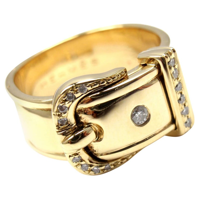 Hermes Diamond Wide Buckle Yellow Gold Band Ring For Sale