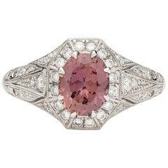 1.40 Carat GIA Unheated Sapphire Custom Platinum Ring