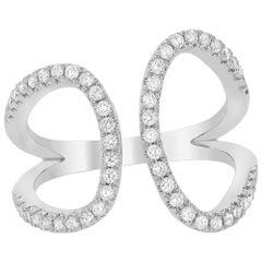 Diamond Cuff Ring in White Gold