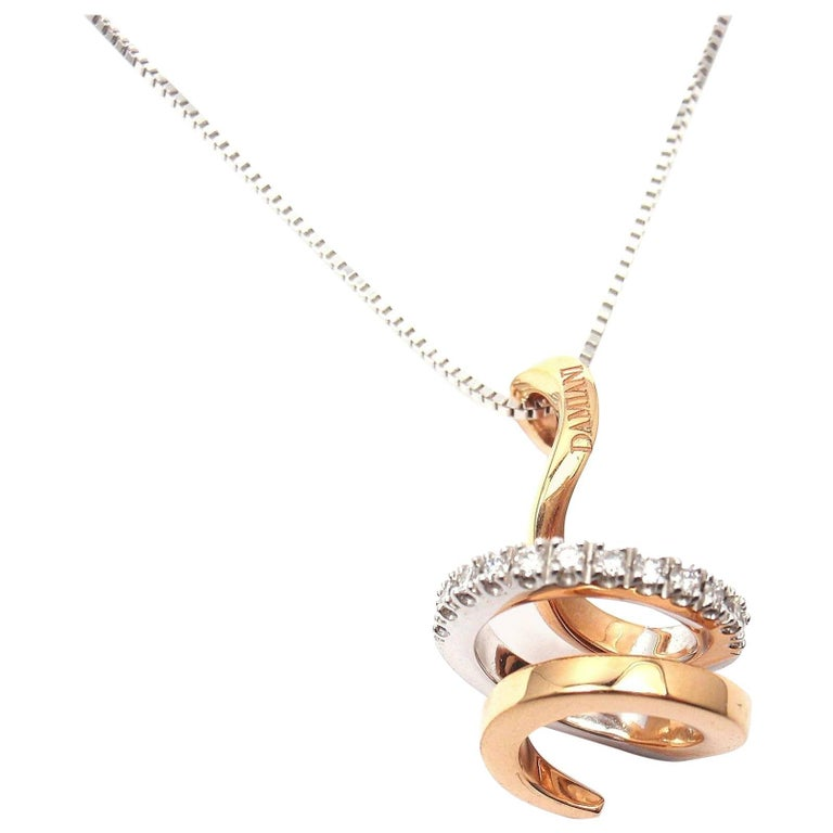 Damiani Eden Diamond White and Rose Gold Necklace