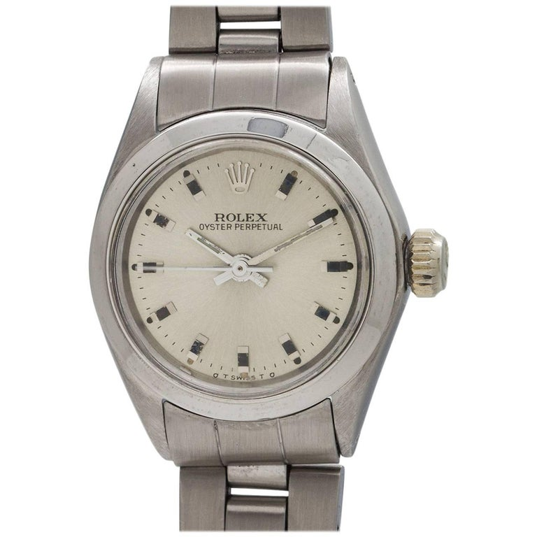 Rolex Ladies Stainless Steel Oyster Perpetual Self Winding Wristwatch circa 1979