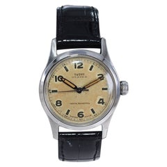 Tudor by Rolex Stainless Steel Oyster Original Patinated Dial Watch, c1940s