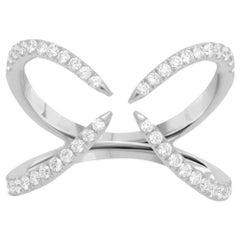 Diamond Open Criss Cross Ring in White Gold