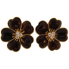 Van Cleef & Arpels Clematis Diamond Wood Yellow Gold Earrings