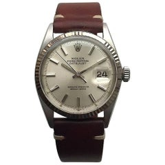Rolex White Gold Stainless Steel Oyster Perpetual Datejust Automatic Wristwatch