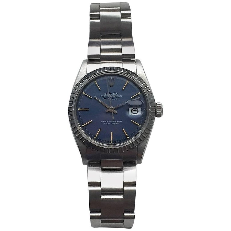 Rolex Stainless Steel Blue Dial Oyster Perpetual Datejust Wristwatch, 1970s