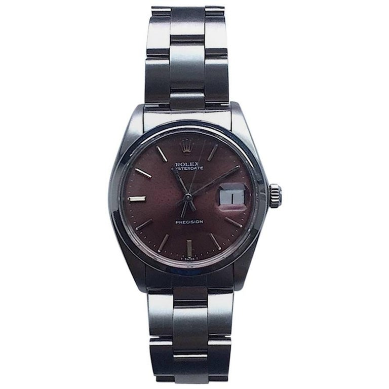 Rolex Stainless Steel Oysterdate Tropical Dial Manual Wind Wristwatch