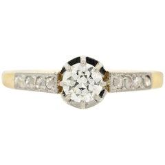 Antique Diamond Platinum Gold Ring