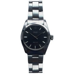 Rolex Stainless Steel Oyster Precision Black Dial Manual Wind Wristwatch, 1970s