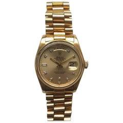 Rolex 18 Karat Yellow Gold Diamond Dial Day-Date President Wristwatch