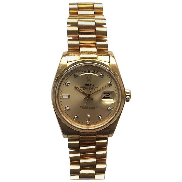 Rolex 18 Karat Yellow Gold Diamond Dial Day-Date President Wristwatch 1