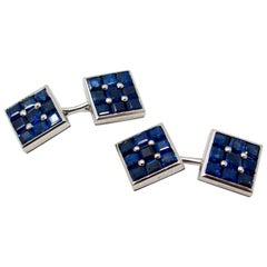 Cartier  Sapphire Platinum Cufflinks