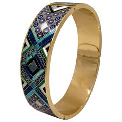 Gold Hardstone Mosaic Motif Bracelet