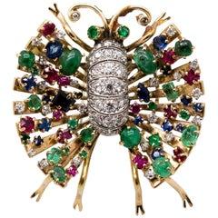 Gold Diamond Rainbow Multistone Winged Creature Brooch
