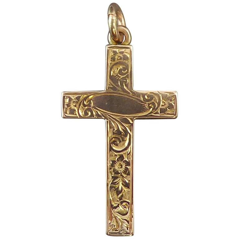 Edwardian Antique Cross, Hand Engraved, 9 Carat Gold, Birmingham, 1901