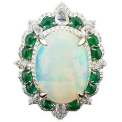 10.66 Carat Cabochon Opal, Emerald and Diamond Cocktail Ring