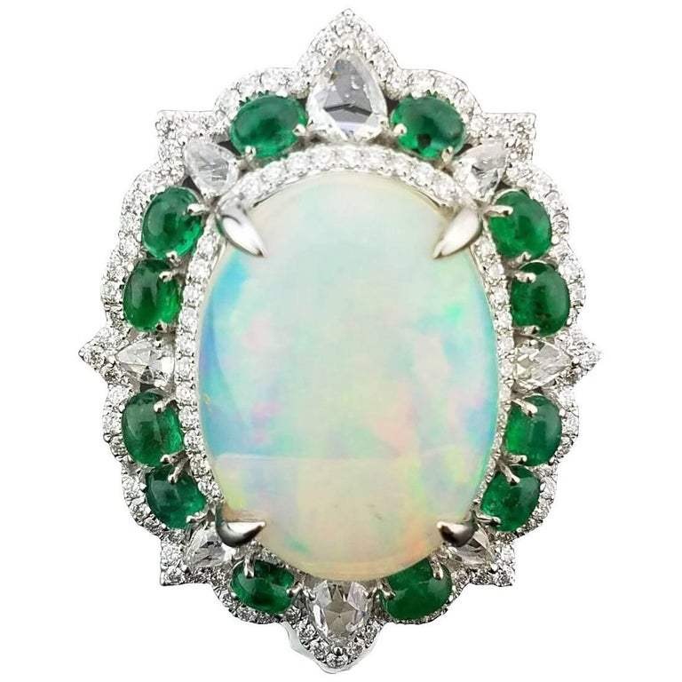 10.66 Carat Cabochon Opal, Emerald and Diamond Cocktail Ring For Sale