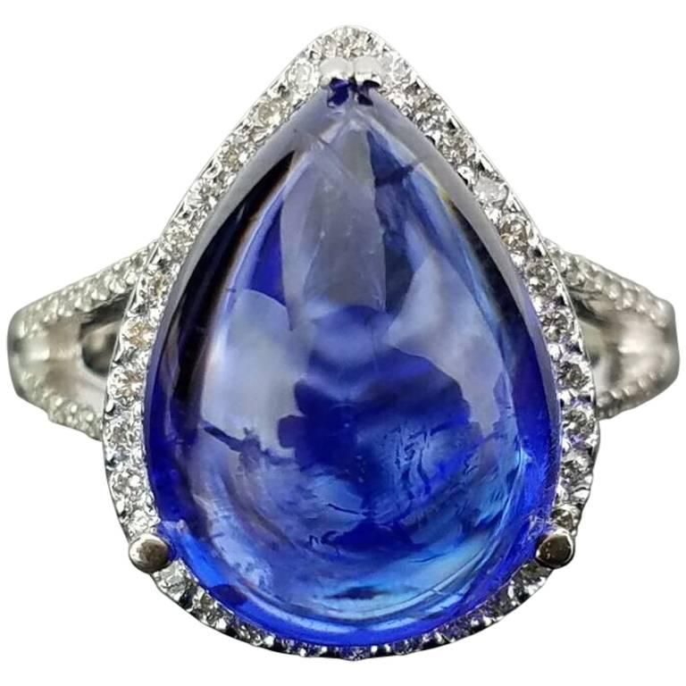 Pear Cabochon Tanzanite and Diamond Cocktail Ring