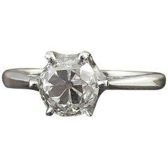 1.02 Carat Old Cut Diamond Solitaire Ring, G Color, VS Clarity, Platinum Band
