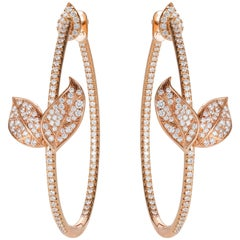 Nadine Aysoy Petite Feuilles 18 Karat Rose Gold and White Diamond Hoop Earrings