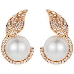 Nadine Aysoy Diamond and White South Sea Pearl Earrings
