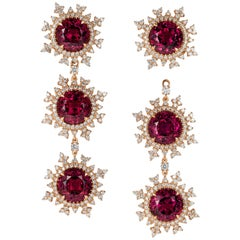 Nadine Aysoy 18 Karat Rose Gold, Rhodolite, Diamond Detachable Diamond Earrings
