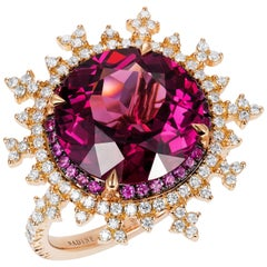 Nadine Aysoy 18 Karat Rose Gold, Red Rhodolite and White Diamond Cocktail Ring