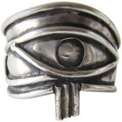 Unisex Handmade Eye of Ra Sterling Siver Cuff Bracelet