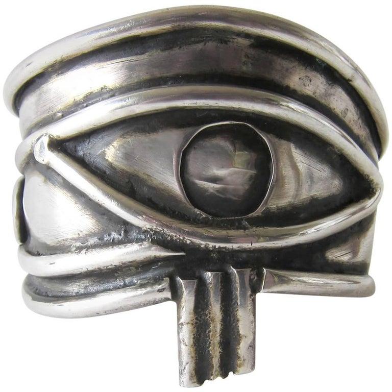 Unisex Handmade Eye of Ra Sterling Siver Cuff Bracelet For Sale