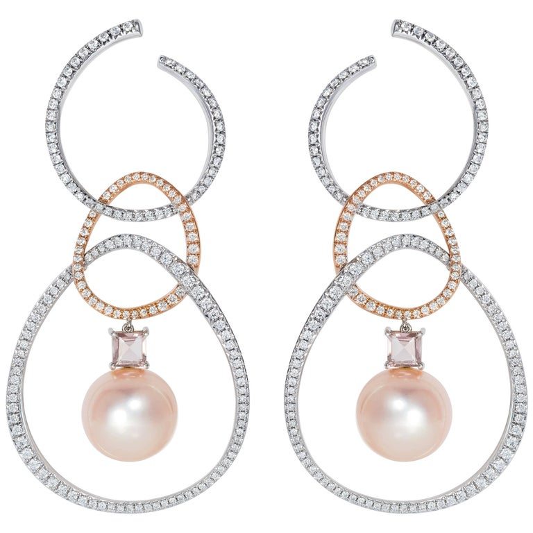 18 Karat White Gold and Diamond Rose South Sea Pearl Kunzite Hoop Dangle Earring