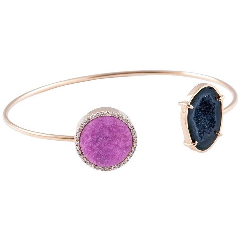 Karolin Rose Gold White Diamonds Agate Calcite Bracelet