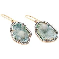 Karolin Rose Gold White Diamonds Agate Geode Earrings