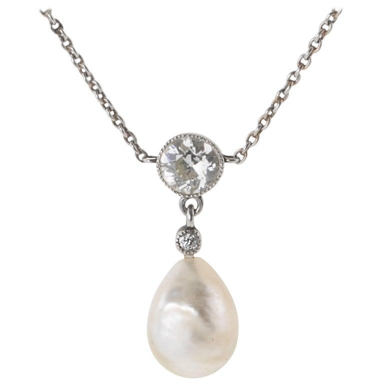Edwardian Natural Pearl Diamond Platinum Necklace