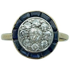 1930s Art Deco Diamond Sapphire Platinum Gold Ring